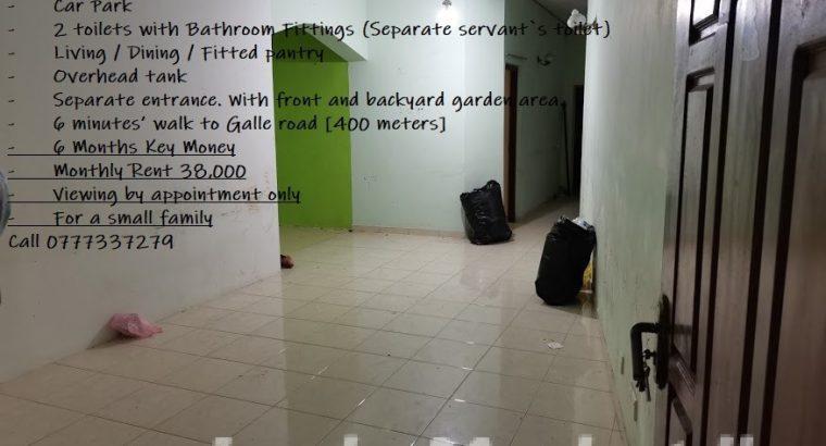 Fully Tiled Downstairs house for rent – Near Mount Lavinia Police / Ratmalana Sri Dharmarama Road