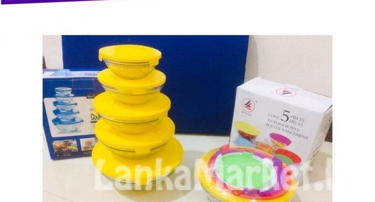 Glass Bowls Set With Lids – 5 Pcs