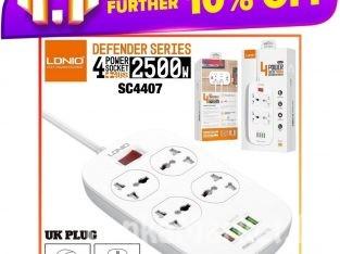 LDNIO Extension Power Cord / Power Socket / LDNIO SC4407/ 4 Power Socket With 4 USB Extension cord