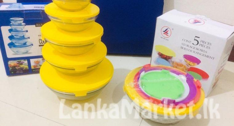 Storage Container Glass Bowl Set (5 Pcs)