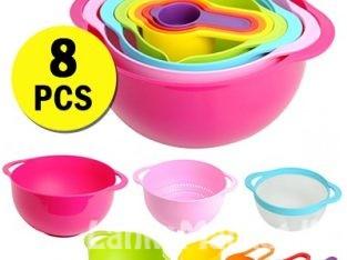 Sweet Color Mixing Bowl Set – 8pcs / 8 pcs Measuring cup and Mixing Bowls Set